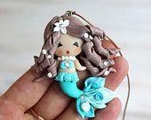 Clay pendant Mermaid, girl pendant, Mermaid  doll, kids jewelry, children's accessories, , turquoise mermaid gift, for Christmas
