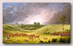 "Plains Cree Indians on the Canadian prairies - ""A Buffalo Pound"" by Paul Kane, oil on canvas, 1849–1852"