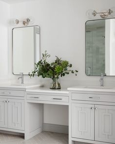 Reinvent your bathroom with a modern double vanity and Top Knobs hardware. Grand Kitchen, Kitchen And Bath, Custom Range Hood, Dining Room Paint, Bathroom Paint Colors, Walk In Pantry, Fixer Upper, Double Vanity, Master Bathroom