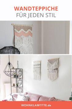 Mit Wandteppichen kann man jede Wand einfach dekorieren. Die kleinen Teppiche bringen ähnlich wie Makramees viel wärme in den Raum. Besonders im Wohnzimmer oder über dem Bett ist der Wandteppich ein schönes Element zur Wanddekoration. Boho Stil, Diy, Home Decor, Tapestry, Small Tapestry, Small Area Rugs, Wall Decorations, Room Wall Decor, Decorating