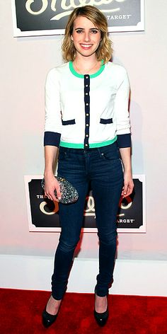 EMMA ROBERTS  Also at the Target bash in N.Y.C., the star is casually chic in a cute cardi from The Webster at Target, worn with skinny blue Citizens of Humanity jeans, black patent Rachel Zoe Collection pumps and a sparkly Edie Parker clutch.