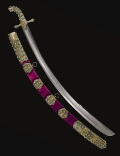 A rare and important Ottoman sabre and scabbard with silver-gilt mounts set with turquoise and gold-inlaid jade panels, Turkey, first half 17th century | lot | Sotheby's