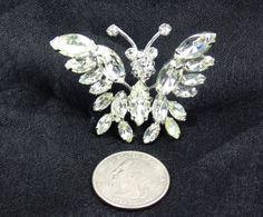Vintage Butterfly Pin Schreiner Brooch Trembler Clear
