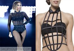 Beyonce wore this silk ribbon cage vest while performing at the 2014 Grammy Awards.