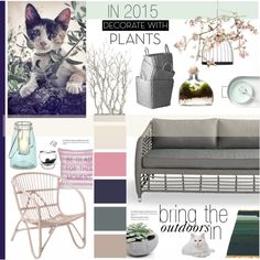 {bring the outdoors in} by snooty-pets on Polyvore featuring interior, interiors, interior design, home, home decor, interior decorating, Bloomingville, fferrone design, &Tradition and Lazy Susan
