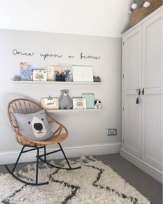 Baby Boy Nurseries - Nursery Reading Corner With Ikea Painted Ledges And Once Upon A Time Wire Sign - Image By Adam Crohill. Pale Grey, Neutral Nursery With Subtle Blush, Blue And Mustard Accents Nursery Reading, Nursery Room, Kids Bedroom, Reading Nooks, Ikea Nursery, Nursery Decor Boy, Nursery Signs, Baby Decor, Baby Room Boy