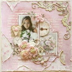 """Gabrielle Pollacco - She Blooms {NEW Maja Design ~ Sofiero Collection} PLUS a Bloom Tutorial!!  The """"Bloom"""" Tutorial is for the tiny pink cloth flower top right of photo.  :-)"""