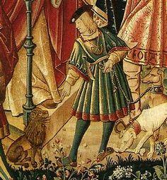 Une scène d'enfant et son chien assez semblable à celle de la Chasse à la Licorne: Détail de la tapisserie Le Départ de l'Enfant prodigue, Musée national du Moyen age, Paris