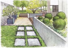 Garden Design Ideas : Visualization of gardens Landscape Architecture Drawing, Landscape Sketch, Landscape Drawings, Landscape Plans, Landscape Design, Garden Design Plans, Garden Drawing, Architect Design, Garden Planning