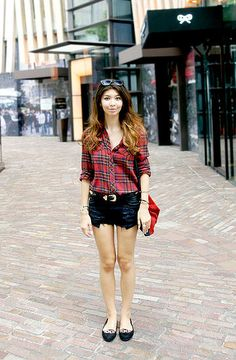 Plaid with cutoffs for the very first days of Fall