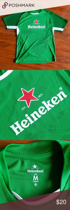Heineken Logo Soccer Futbol Jersey Condition: 8/10  Measurements upon request!   Reasonable offers are warmly welcomed & your purchase is greatly appreciated!   Buy with confidence from a top rated Poshmark Ambassador! Over 1000 sales to date! Heineken Shirts