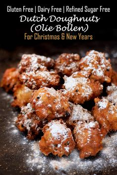 Gluten free oliebollen (or dutch doughnuts). A doughnut-ish dessert stuffed with apples and raisins traditionally made for Christmas or New Year's.