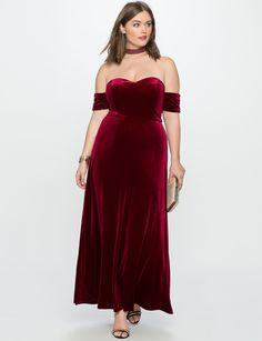 Velvet Off the Shoulder Gown | Women's Plus Size Dresses | ELOQUII