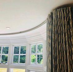Bay Window Pole, Bay Window Curtain Poles, Metal Curtain Pole, Curtain Rods, Contemporary Window Treatments, Contemporary Windows, Bay Window Treatments, Window Coverings, Boston House