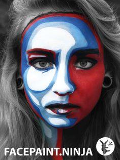 2D 3D graphic poster style Facepaint art by Facepaint Ninja
