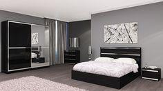 Chambre adulte complète design ORLANE II, coloris noir brillant et acier chromé