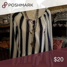 Boho Blouse Bohemian style navy and white blouse.  Pre-loved excellent condition. Merona Tops Blouses