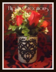 "This decorative jar, vase, etc, is called ""Heartbeat Damask""  #glitter #black #silver #damask #heart #handmade #winebottle #winebottlecrafts #roses #homedecor #decor #decorative #crafts #crafty #nationcrafty wine bottle crafts"