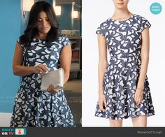 Denim Lace Fit & Flare Dress worn by Jane Villanueva (Gina Rodriguez) on Jane the Virgin Fit And Flare, Fit Flare Dress, Denim And Lace, Fashion Tv, Fashion Outfits, Fashion Movies, Navy And White, White Lace, Jane The Virgin