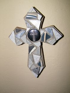 Mini gray cross with cross center,  by Amy Glass, 5/15, www.facebook.com/mymosaiccloset