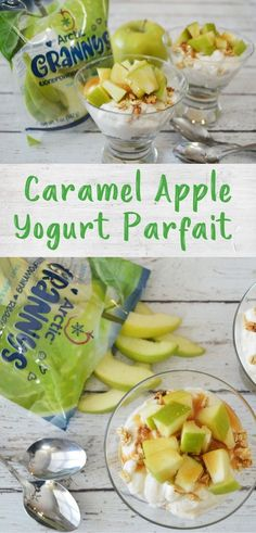 These simple caramel apple parfaits need only 4 ingredients and are perfect for a healthy snack or breakfast that kids can easily assemble themselves! Vegetarian Breakfast, Healthy Breakfast Recipes, Snack Recipes, Healthy Appetizers, Healthy Treats, Healthy Yogurt Parfait, Quick Snacks, Kid Friendly Meals, 4 Ingredients