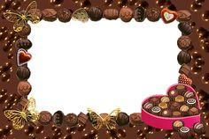 Transparent Frame with Hearts and Chocolates