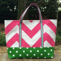 Beach Bag Large Tote Chevron Tote Monogram by JerseyPeachDesigns, $35.00