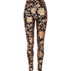 Black floral foil print leggings $60.00