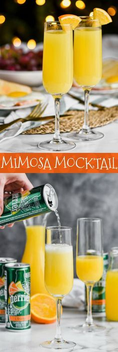This Non Alcoholic Mimosa recipe or Mimosa Mocktail is the perfect brunch drink when you are trying to cut back on calories and lighten things up. Made with just a few ingredients this mimosa is going to shock you with how delicious and refreshing it is! Non Alcoholic Mimosa, Alcoholic Punch Recipes, Drinks Alcohol Recipes, Alcoholic Beverages, Brunch Drinks, Fruit Drinks, Yummy Drinks, Mimosa Brunch, Refreshing Drinks