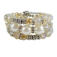 Memory Wire Wrap Bangle Pearl/Silver