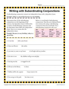Writing with Subordinating Conjunctions | 3rd Grade Conjunction Worksheets