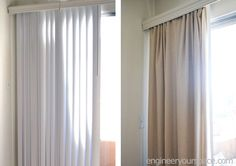 Hometalk   How to Conceal Vertical Blinds With a Curtain