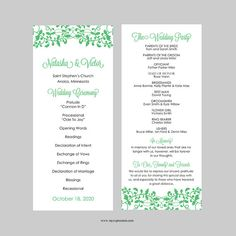 Wedding Program Template  Tea Length  Leaves And Branches Gray