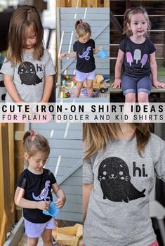 I'm sharing three cute iron-on shirt ideas for toddlers. Use your Cricut and these designs to transform plain shirts into adorable pieces! Blank T Shirts, Plain Shirts, Vinyl Projects, Projects For Kids, Cute Designs, Shirt Designs, Silhouette Portrait, Silhouette Cameo, Cute Seals