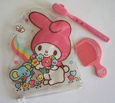 My Melody grooming set - contents by ✎☁Iron Lace☁✎, via Flickr