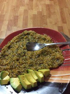 Haitian Style cornmeal with spinach Caribbean Food, Caribbean Recipes, Haitian Creole, Haitian Food Recipes, Island Food, West Indies, Palak Paneer, Cuban, Yum Yum