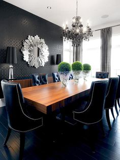 Love the industrial yet opulent look of the chandelier, wallpaper and especially the black floor. I have similar chairs in my dining room that are a bright plum velvet.