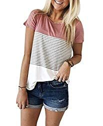 Round Neck Short Sleeve Stripe tOPS Cycling Shorts Outfit Neck Short Sleeve Stripe tops Informations Short Outfits, Summer Outfits, Casual Outfits, Preppy Casual, Dinner Outfits, Preppy Style, Summer Clothes, Casual Tops, Casual Shirts