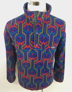 Patagonia T Snap Pullover Fleece Coat Native Aztec Print Mens XL Vintage 90's #Patagonia #FleeceJacket