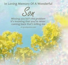 In loving memory of a wonderful son.