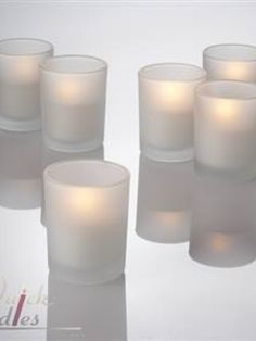 72 Frosted Glass Votives with LED flameless Candle