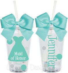 Maid of Honor Matron of Honor Bridal Party Wedding Personalized 16oz  Acrylic Tumbler