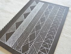 Large African Inspired Notebook - Geometric Embroidered Spiral Journal - Black and White