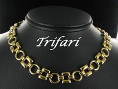 Trifari Goldtone Necklace with Circle and squares by vintagejewelrylane, $17.99