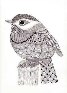 Tangled Little Flycatcher – Zentangle Birds. Design Ideas Inspirations - Tangled Little Flycatcher – Zentangle Birds Zentangle Drawings, Bird Drawings, Zentangle Patterns, Doodle Drawings, Doodle Art, Zentangles, Zentangle Animal, Zentangle Art Ideas, Doodle Patterns