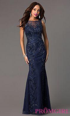 Bead Embellished Floor Length Sleeveless Milano Dress at PromGirl.com