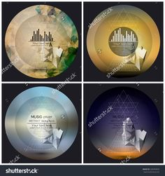 Set Of 4 Music Album Cover Templates. Abstract Multicolored Backgrounds. Abstract 3d Pyramids. Stock Vector Illustration 326493620 : Shutterstock