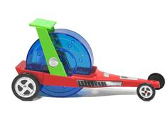 Hamster toy car dragster.
