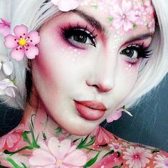 This cherry blossom Halloween look is so stunning.