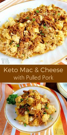 A simple keto mac and cheese with pulled pork is sure to be a winning dinner. And, it's a quick recipe that repurposes leftovers from a previous meal. #lowcarb #keto #ketorecipe | LowCarbYum.com via @lowcarbyum